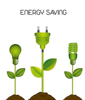 Bulbo elétrico verde com ilustração em vetor de poupança de energia de plug