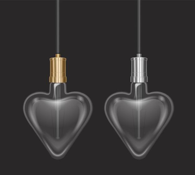Bulbo realista em forma de coração em uma lâmpada de estilo retro