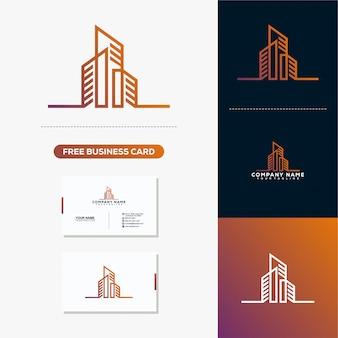 Bulding logotipo imobiliário e modelo de vetor de cartão