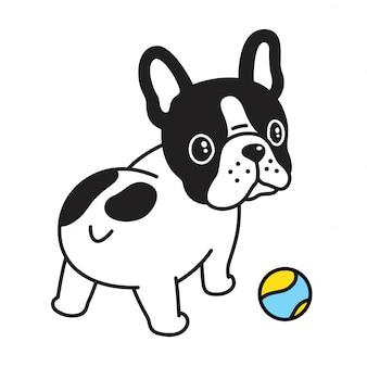 Buldogue com desenhos animados de bola de tênis