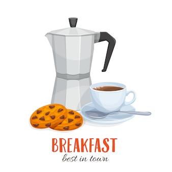 Bule de café e xícara de café com biscoitos.