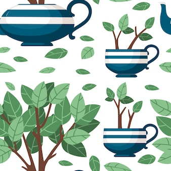 Bule de cerâmica sem costura padrão azul e duas xícaras com arbusto de chá crescendo fora dele ilustração vetorial plana sobre fundo branco.