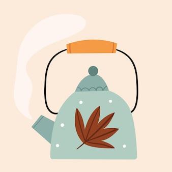 Bule de chá azul fofo com folhas de outono no estilo escandinavo