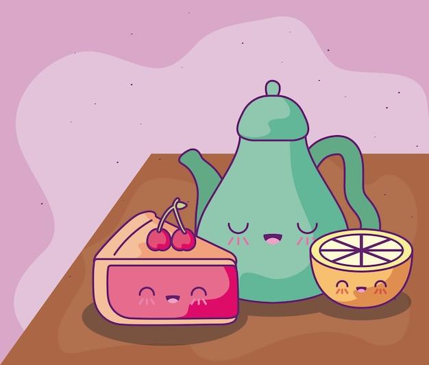Bule de chá bonito com comida deliciosa estilo kawaii