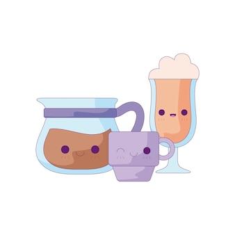 Bule de chá bonito com conjunto de bebidas estilo kawaii