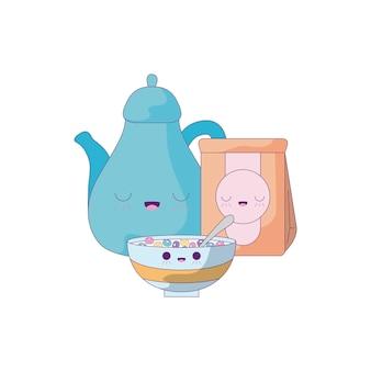 Bule de chá bonito com estilo conjunto comida kawaii