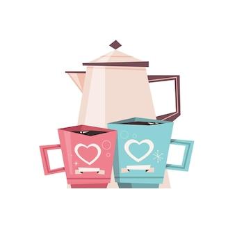 Bule de chá com canecas conceito de celebração do dia dos namorados cartão banner convite pôster ilustração