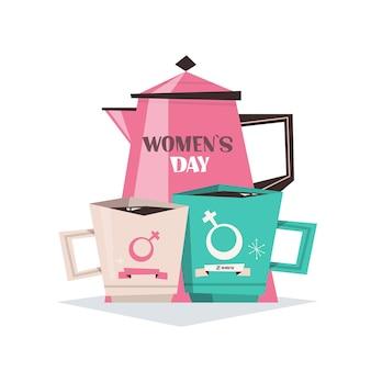 Bule de chá com canecas feminino dia 8 de março feriado celebração banner panfleto ou ilustração de cartão comemorativo