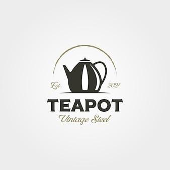 Bule de chá de aço inoxidável logotipo vintage vector símbolo ilustração design. design de rótulo de bule