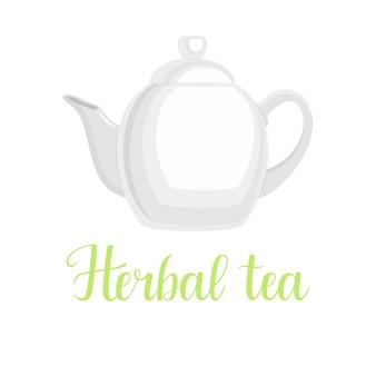 Bule de chá em fundo branco, título manuscrito