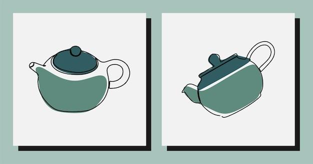 Bule de chá estético vetor premium on-line contínuo de arte em linha