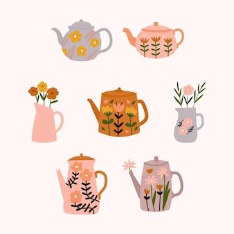 Bule de chá floral fofo com buquê de flores da primavera em estilo escandinavo.