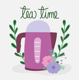 Bule de chá na hora do chá, cozinha elétrica, ilustração de desenho floral com flores