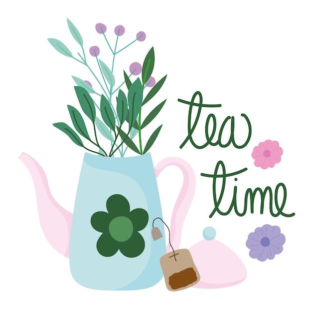 Bule de chá na hora do chá e flores em saquinho de chá utensílios de cozinha, ilustração de desenho floral