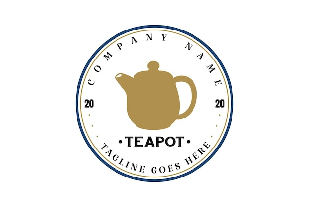 Bule de chá vintage retrô para chá café carimbo distintivo rótulo logotipo design vetorial