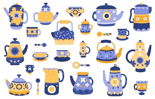Bule de cozinha dos desenhos animados. bules de chá de cerâmica e chaleiras, servindo talheres, conjunto de ícones de ilustração de elementos decorativos de cerimônia de chá. utensílios de cozinha e chaleira cerâmica