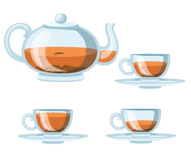 Bule e xícaras de vidro transparente com chá preto. chá verde ou preto para publicidade e embalagem. ilustração em fundo branco