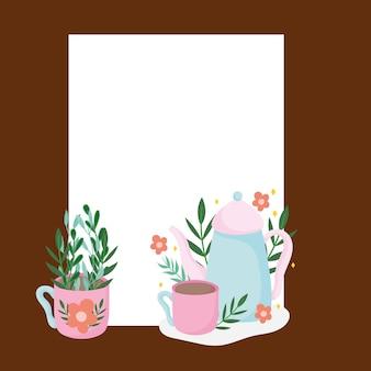 Bule e xícaras na hora do chá com ilustração de ingredientes à base de ervas