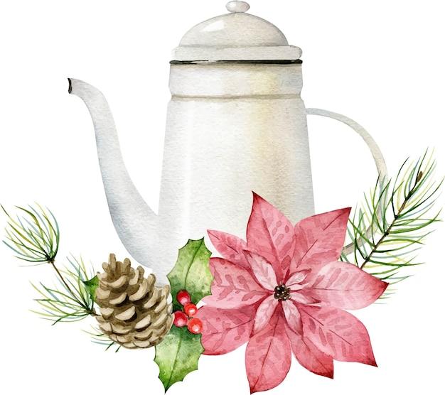 Bule floral de natal vintage