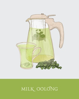 Bule ou jarro transparente com filtro e maceração de leite oolong, xícara e folhas de chá desenhadas à mão em estilo vintage elegante