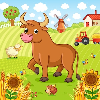 Bull está em um campo ao lado de um ouriço e uma ovelha