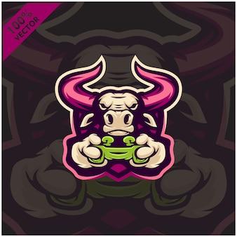 Bull gamer segurando o console do jogo joystick. design de logotipo mascote para a equipe esport.