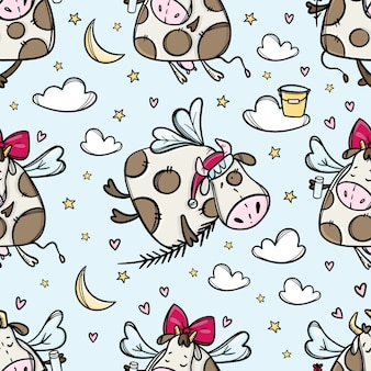 Bull in flight, cow in the sky with christmas tree branch e santa hat, seamless pattern