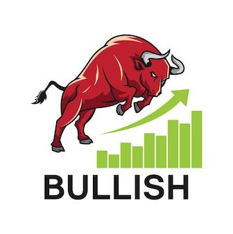 Bull sobe em um gráfico de crescimento altista do mercado de ações