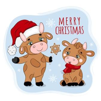 Bull tratando o pão-de-espécie de natal, ano novo feliz natal desenho animado feriado clip art vector