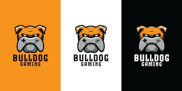 Bulldog com design de logotipo de controlador de jogo