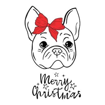 Bulldog com um arco cartão de natal inscrição feliz natal
