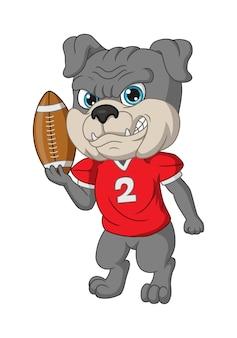 Bulldog de desenho animado jogando rúgbi