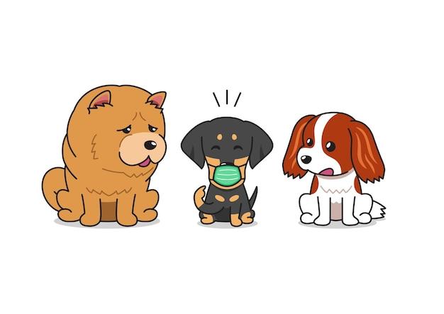 Bulldog de personagem de desenho animado vetorial usando máscara protetora com outros cães