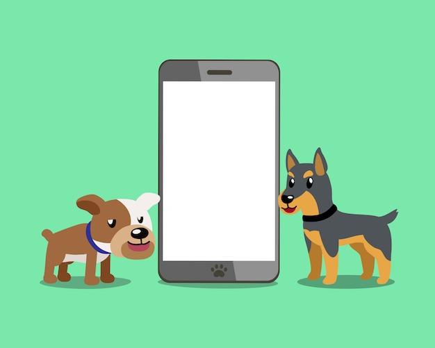 Bulldog e cão doberman com smartphone