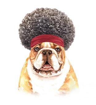 Bulldog em aquarela com cabelo afro.