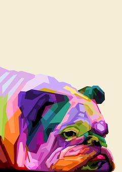 Bulldog inglês colorido em estilo pop art Vetor Premium