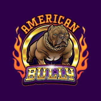 Bulldog mascot logo american bully