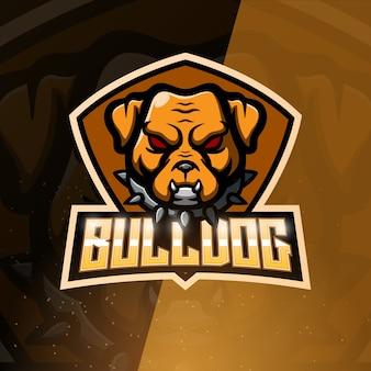 Bulldog mascote esport ilustração