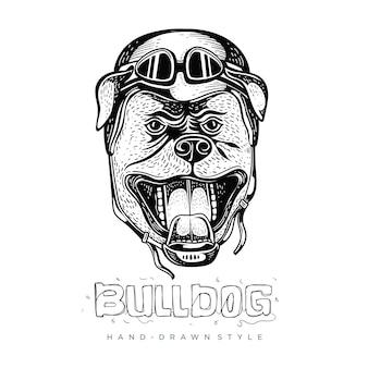 Bulldog vestindo capacetes, ilustrações de animais desenhados à mão