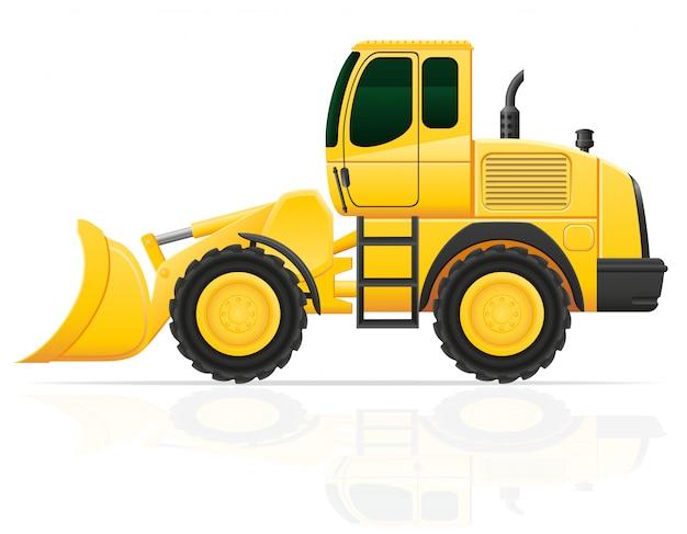 Bulldozer para obras rodoviárias ilustração vetorial