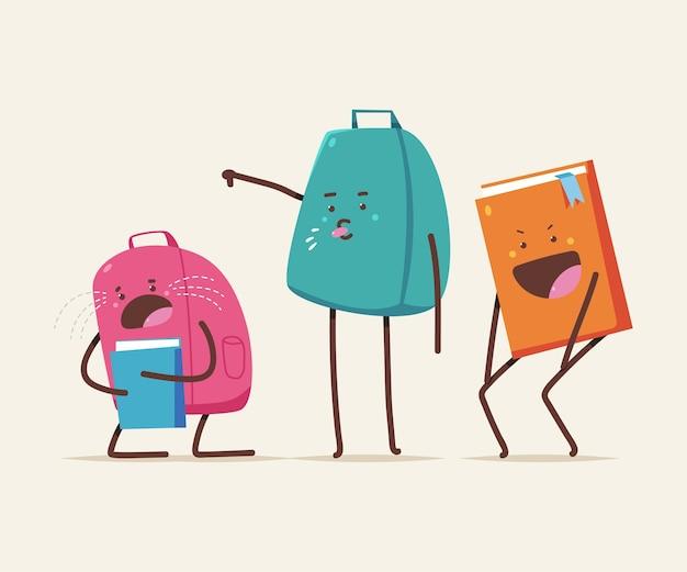 Bullying cartoon ilustração do conceito com livro escolar e personagem de mochila isolado no fundo.
