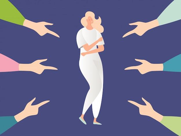 Bullying mulher, violência de problema de conceito simples, assédio e pessoa de abuso no projeto de ilustração de desenhos animados de estilo.