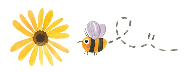 Bumblebee está voando para florescer arte vetorial em aquarela