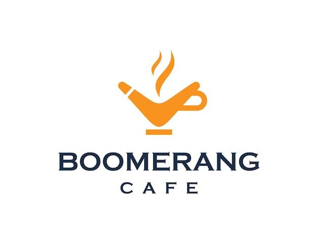 Bumerangue e xícara de café simples, elegante, criativo, geométrico, moderno, logotipo
