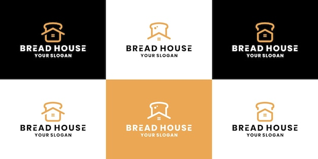 Bundle bread house, design de logotipo de padaria para comida de restaurante