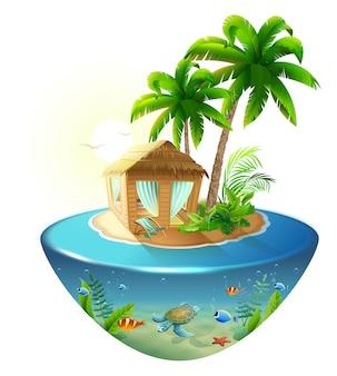 Bungalow sob palmeira na ilha tropical