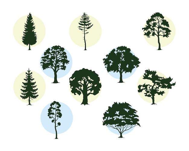 Bunsle of dez árvores plantas floresta silhuetas ícones ilustração