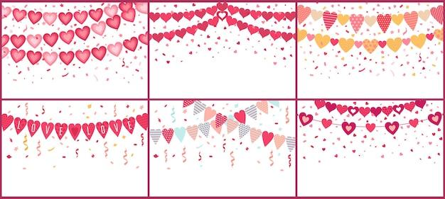 Bunting amo corações. guirlanda de amor, bandeiras de coração de decoração de festa dos namorados com confetes coloridos Vetor Premium