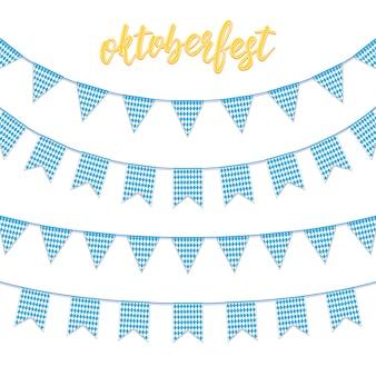 Buntings de festão da bandeira azul quadriculada da baviera e mão lettering oktoberfest.