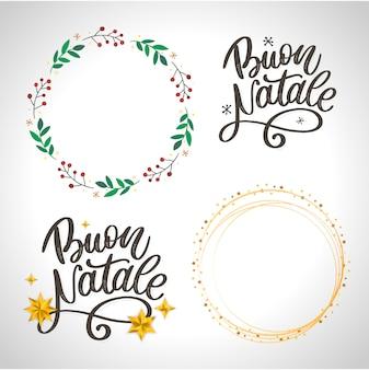 Buon natale. feliz natal caligrafia modelo em italiano.